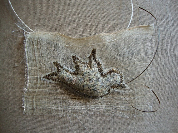 silk lavender bird with scent of lavender, raw silk brooche or pendant- wearable art