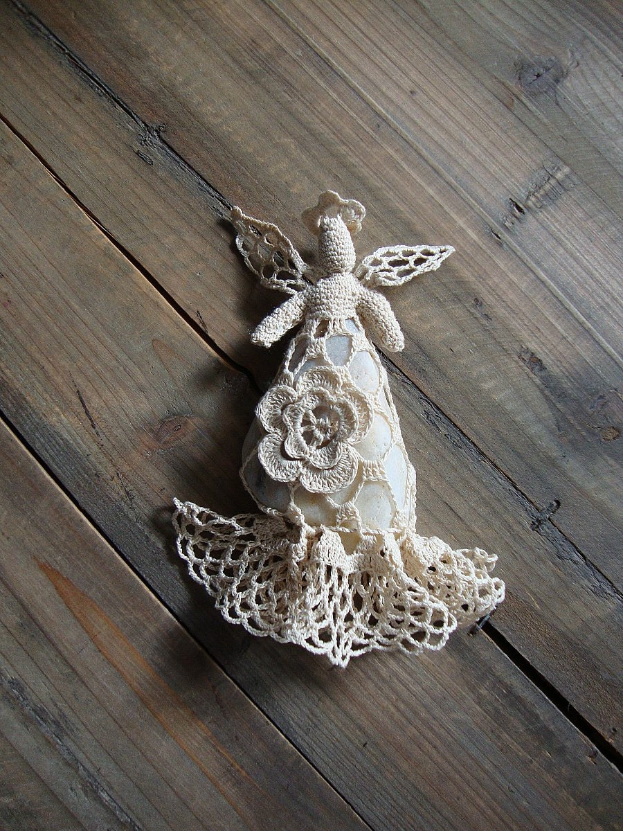 Crocheted Lace Stone Angel Rustic Christmas Home