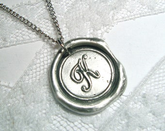 Classic Monogram Wax Seal Necklace, letter of your choice