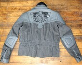 Vintage HONDA Motorcycle Biker Jacket Coat Leather Denim Gray 70s 80s Mens Medium Womens Large