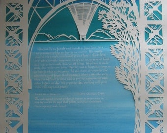 Williamsburg Bridge Papercut Ketubah - NYC - calligraphy - Hebrew - wedding artwork