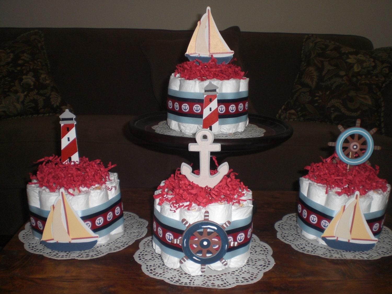 beach nautical sailing baby shower centerpiece diaper cakes