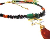 Be the Shooting Star of Your Own Life - Necklace / Carnelian, Green Agate, Garnet