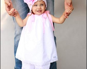 White Eyelet Pillowcase Dress for Girls Casual White Eyelet Fabric