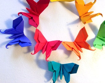 10 Large Paper Origami Solid Color Swallowtail Butterflies - Color if your choice