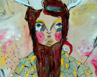Estelle- Mistress of stars and celestial divination - A3 print on linen stock cute art with antlers