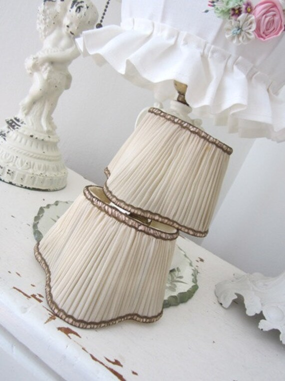 Antique Lamp Shades - Clip on Wall Sconce - Passementerie - HTF - Silk - Vintage - Shabby French Cottage Paris Apt.