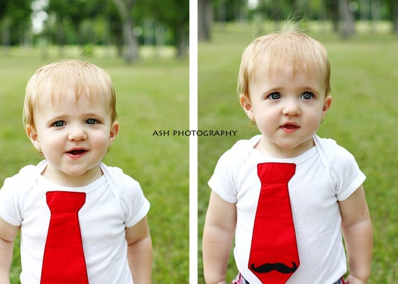Add a felt mustache to any tie onesie or shirt