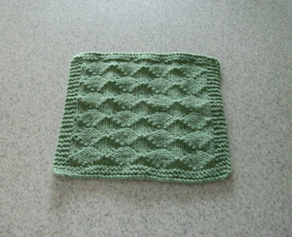 Hand Knitted Dishcloth - Green