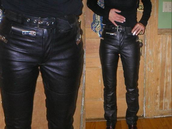 Vintage 80s Hein Gericke Black Leather Motorcyle Pants Womens