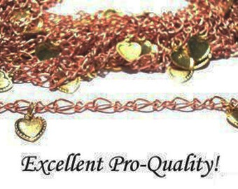 Vintage 4 Feet Copper Coated Chain with Brass Heart Charms AM5