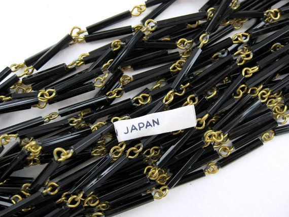 Vintage Lot of 20 Feet of Japanese Made Black Glass Beaded Brass Chain  EL1 016