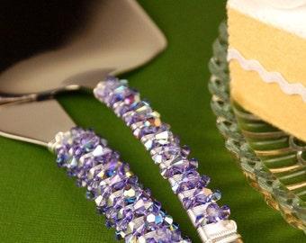 Purple wedding cake cutting set knife server tanzanite Swarovski crystal beads reception decor bridal shower birthday party cake cutter