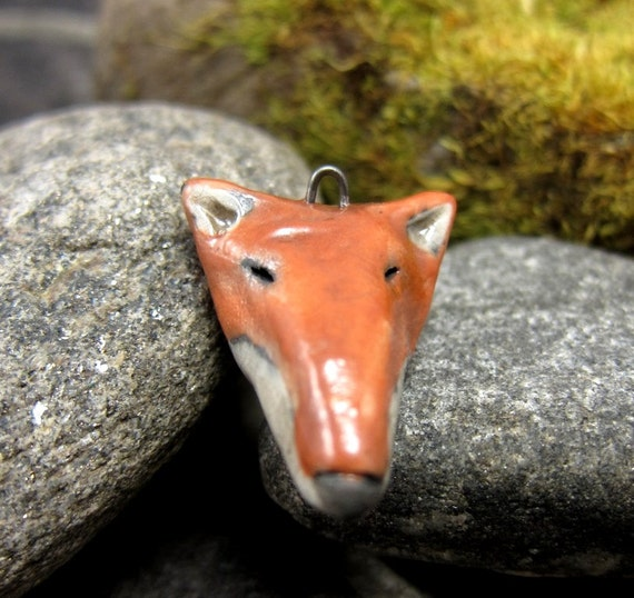 Fox...Saggar Fired Rustic Pendant