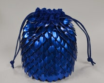 Scale mail Dice Bag of Holding Knitted Dragonhide Blue