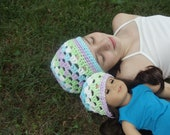Girl and Doll Matching Crocheted Beanie, size 5 to 8  - Blue, Purple, Green, White - READY TO SHIP