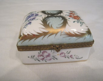 vintage hand painted hinged porcelain box