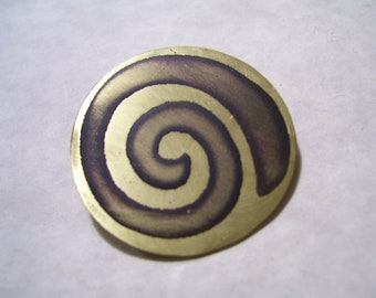 Celtic Spiral Etched Brass Pin