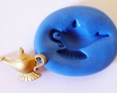 Arabian Nights Aladdin magic Lamp Flexible Silicone Push Mold for Polymer clay, Resin,Wax,Miniature Food,Sweets,plaster