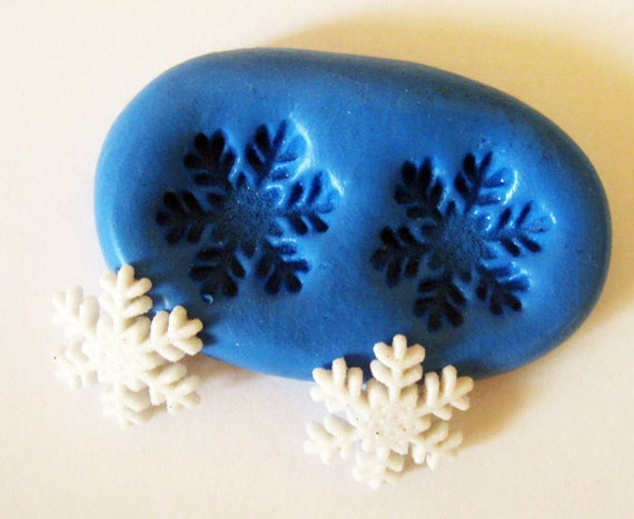 Snowflake Flexible Silicone Push Mold for Polymer clay, Resin,Wax,Miniature Food,Sweets and more..