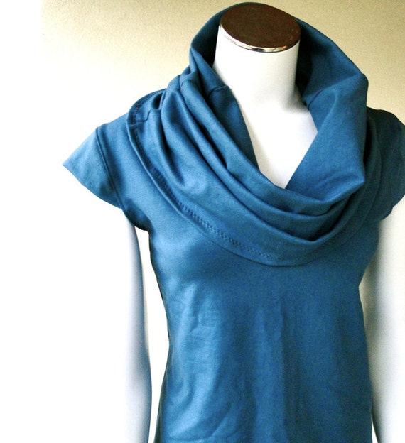 Organic french terry shirt,  sleeveless tunic, cowl top, cowl sweater top,  teal shirt, organic clothes