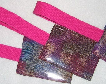 Multi-colored purple snakeskin fabric luggage tag with pink strap
