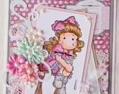 Cutie Magnolia Tilda Girl Handmade Greeting Card