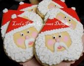 Heart Santa Face Cookies - Santa Cookies - 12 cookies