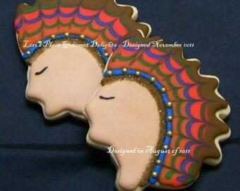 Indian Head Cookies - Thanksgiving Cookies - Indian Cookies - 1 Dozen