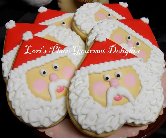 Heart Santa Face Cookies - 12 cookies