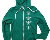 Unisex BEES Tri-Blend Vintage Green Hoody - American apparel XS S M L XL