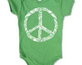 Baby One-Piece PEACE Sign -  american apparel (3 Color Options) - FREE Shipping