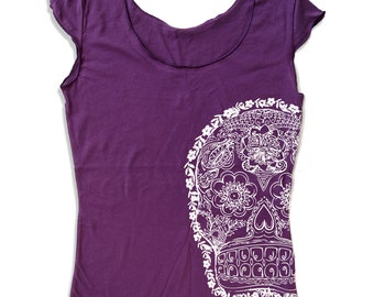 Womens Day of the DEAD2 Scoop Neck Tee - american apparel T Shirt S M L XL (6 Colors)