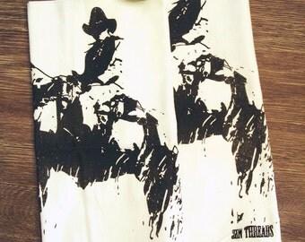Towel Set of 2 - COWBOY Multi-Purpose Flour Sack Bar Towels - Renewable Natural Cotton