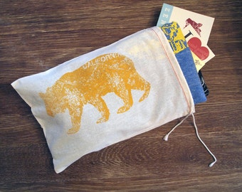 "GIFT BAG / 8""x11""  California Bear / Hand Printed reusable Drawstring Cotton Bag (yellow or navy option)"