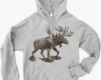 Unisex - MOOSE (in Snow Shoes)  Fleece PULLOVER Hoody - screen printed - xs s m l xl xxl (3 Colors)