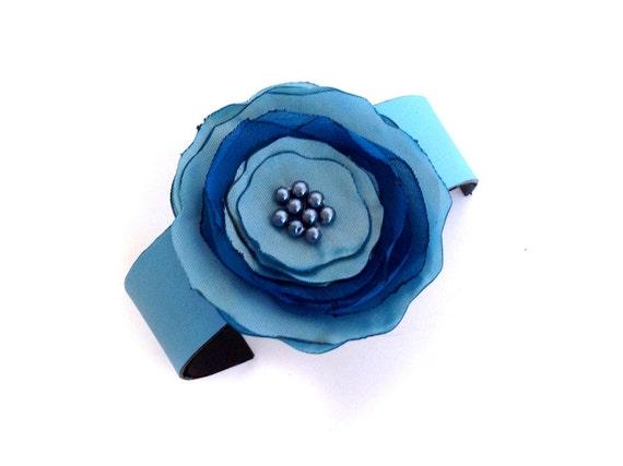 Leather bracelet with fabric flower Corsage bracelet