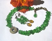 Green anklet and earring set, adjustable ankle bracelet, bohemian jewelry, beaded anklets