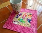 Flip Flops - Pink - Mug Rug or Candle Mat  Oversized Coaster Number 335