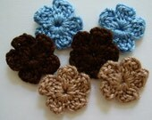 Crocheted Flowers - Blue, Brown and Tan Forget-Me-Nots - Cotton - Crocheted Appliques - Crocheted Embellishments