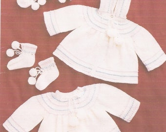 Baby Knitted Pram Set Coat, Dress, Bootees and Mittens Knitting Pattern PDF (PAT183)