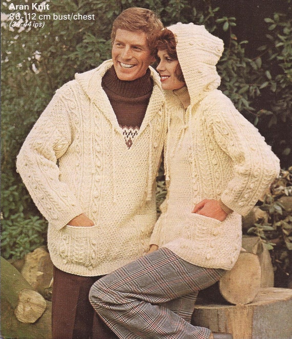 Aran Knitting Pattern With Hood : PDF Mens/Ladies Aran Cable Knitted Hooded Jumper Knitting