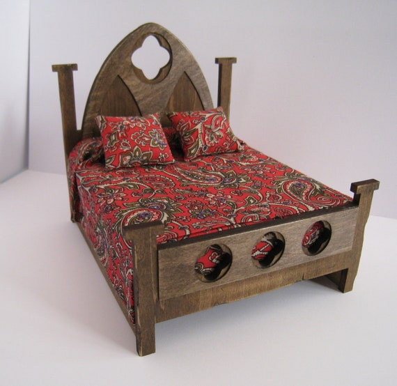 Bed, double,Tudor    a dollhouse miniature in twelfth scale
