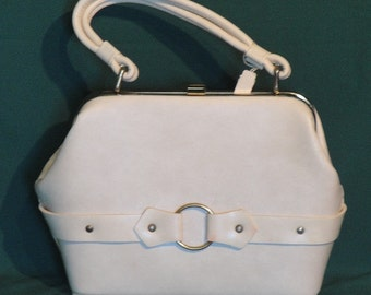 NOS Bone Colored Faux Leather Handbag Purse Dover
