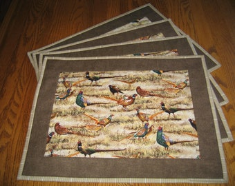 Quilted Placemats with Pheasants - Set of 4