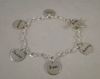 Grandma and Mom Charm Bracelet Hand Stamped Five Disc Sterling Silver