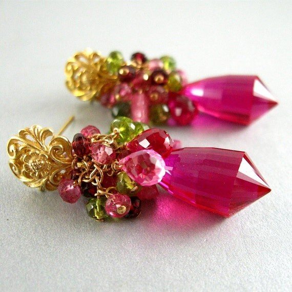 Pink Topaz Cluster Earrings - Dreaming In Color