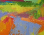 Leaves ORIGINAL ABSTRACT painting 12 x 16 orange lavender yellow green