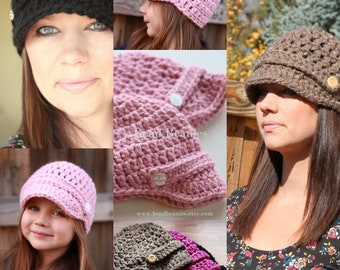 Crochet Pattern PDF Easy Brimmed Button Beanie Hat in Two sizes, Adult and Child for the price of ONE