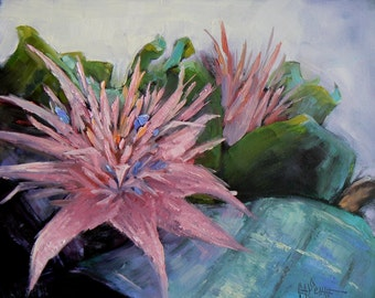 "Flower Still Life, Small Oil Painting, Floral Painting, 8x10 Painting, Daily Painting, ""Aechmea Bromeliad"" 8x10"""
